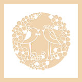 Wedding of two birds among the flowers. Openwork round wreath of flowers. Laser cutting template. Wedding of two birds among the flowers. Openwork round wreath stock illustration