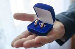 Wedding. Two wedding rings in a blue box on a hand Stock Photography