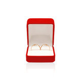 Wedding two rings in red box isolated on white background Royalty Free Stock Image