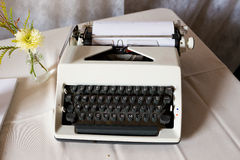 Wedding Typewriter Guestbook. An antique typewriter is used as a guestbook at this wedding ceremony and reception royalty free stock photo