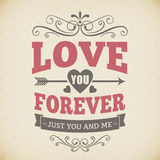 Wedding typography love you forever vintage card background design royalty free illustration