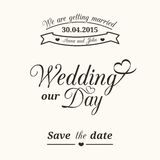 Wedding typography. Set of wedding vintage typographic elements for invitation design Royalty Free Stock Images