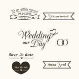 Wedding typography. Set of wedding vintage typographic elements for invitation design Royalty Free Stock Photo