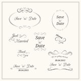 Wedding typography. Set of wedding vintage typographic elements for invitation design Royalty Free Stock Image