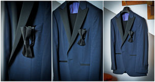Wedding ultramarine suit and black bow. Formal groom suit with black bow-tie. Elegant blue groom's suit close up with bow tie.  Stock Photos