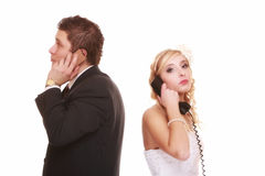 Wedding unhappy couple phone, relationship difficulties Royalty Free Stock Photos