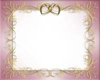 Wedding or Valentine Border pink. 3D Illustration for Wedding Frame, Valentine or Invitation Background, border or frame with copy space Royalty Free Stock Photo