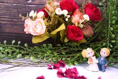 Wedding and valentine dancing dolls royalty free stock images