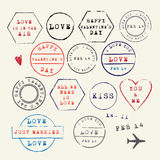 Wedding and Valentine's Day stamp set.Vector Illustration. Love symbols Stock Photos