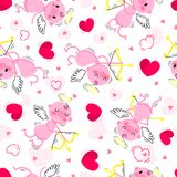 Wedding and Valentines Day day seamless texture with lovely cupids and hearts. Vector illustration Stock Image