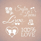 Wedding or Valentines Day design love elements. Delicate white wedding or Valentines Day design love elements in retro style with silhouettes and shining heart Royalty Free Stock Image