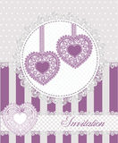 Wedding or valentines day invitation card with  lacy hearts.Vector illustration. Stock Images