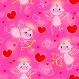 Wedding and Valentines Day day seamless texture with lovely cupids and hearts. Vector illustration Stock Photo