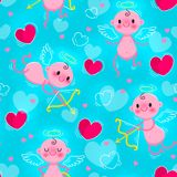 Wedding and Valentines Day day seamless texture with lovely cupids and hearts. Vector illustration Royalty Free Stock Image
