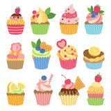 Wedding vanilla cupcakes isolated on white background. Vector illustrations set in flat style. Color sweet cupcake dessert with cream and fruits Stock Images