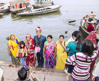Wedding in Varanasi. A couple is getting married on the ghats of the holy city of Varanasi Royalty Free Stock Photos