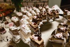 Wedding variety dessert cakes with tasty buffet color decorated with whipped chocolate cream and cherries, candy bar, sweet buffet.  Royalty Free Stock Image