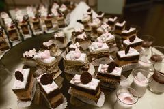 Wedding variety dessert cakes with tasty buffet color decorated with whipped chocolate cream and cherries, candy bar, sweet buffet.  Stock Images