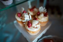 Wedding variety dessert cakes with tasty buffet color decorated with whipped red cream, sweet muffins, candy bar, buffet.  Royalty Free Stock Image