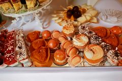 Wedding variety dessert cakes with tasty buffet color decorated with whipped red cream, sweet muffins, candy bar, buffet.  Stock Images