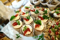 Wedding variety summer dessert with fresh fruits and berries in cakes with tasty buffet color decorated with whipped cream, candy. Bar, buffet Stock Photography