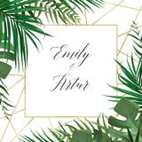 Wedding vector art floral invite invitation card design with wat. Ercolor style tropical forest palm tree green leaves, exotic greenery herbs & elegant golden Stock Image