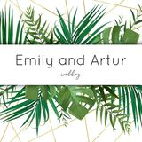 Wedding vector art floral invite, invitation, save the date card. Design with watercolor tropical forest palm tree green leaves, exotic greenery & elegant stock illustration