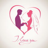 Wedding vector card. Happy Valentine's Day vector card with silhouettes Royalty Free Stock Image