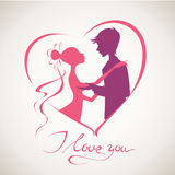 Wedding vector card. Happy Valentine's Day vector card with silhouettes Royalty Free Stock Photo