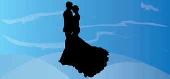 Wedding vector Couple silhouette valentine pictures eps illustrations romantic images love graphics kiss background. Here you see a wedding vector couple Stock Photography