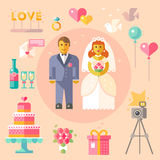 Wedding vector flat illustration Royalty Free Stock Images