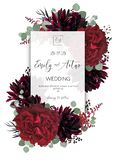 Wedding vector Floral invite, invitation save the date card design. Red vine rose flower, burgundy dahlia, eucalyptus greenery br. Anches & berries boho frame stock illustration