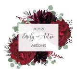 Wedding vector Floral invite, invitation save the date card vector design: garden marsala red rose flower, burgundy wine. Dahlia, eucalyptus greenery branches stock illustration