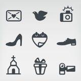 Wedding vector icon set. Vector illustration of wedding on light-grey background Royalty Free Stock Image