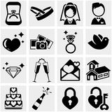 Wedding vector icon set on gray Stock Photo