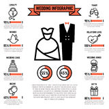 Wedding vector infographics with marriage and bridal flat icons Royalty Free Stock Photos