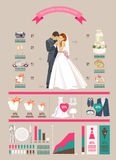Wedding vector infographics set. Bride and groom with wedding icons in retro style. Royalty Free Stock Images