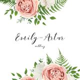 Wedding vector invitation, floral invite card with watercolor st. Yle blush pink garden roses, white peony flowers, green eucalyptus, tree leaves, greenery royalty free illustration