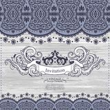 Wedding vector Invitation with lace decoration Royalty Free Stock Images