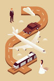 Wedding, vector isometric illustration, 3d icon set, brown background, invitation: man, car, plane, train, woman, road Stock Photography