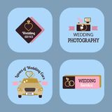 Wedding vector photo or event agency logo badge camera photographer vintage template illustration. Stock Photography