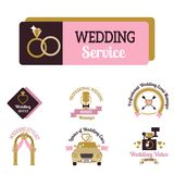Wedding vector photo or event agency logo badge camera photographer vintage template illustration. Royalty Free Stock Images
