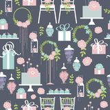 Wedding vector seamless pattern with cake and flowers. Wedding vector seamless pattern with cake, wedding chairs, flowers and sweets royalty free illustration