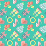 Wedding vector seamless pattern with gift, heart, stemware, rings etc. in flat style. Bridal endless flat background. Wedding vector seamless pattern with gift Royalty Free Stock Images