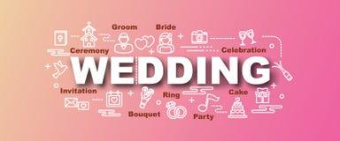 Wedding vector trendy banner Stock Images