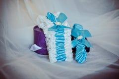 Wedding veil and a garter Stock Image