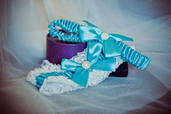 Wedding veil and a garter Stock Photo