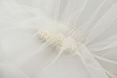 Wedding veil with a pearl comb Stock Photo