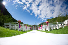 Wedding venue. In the beautiful mountains and blue sky and white clouds Royalty Free Stock Images