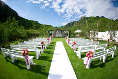 Wedding venue. Fisheye shot Wedding venue in the beautiful mountains and blue sky and white clouds Royalty Free Stock Image